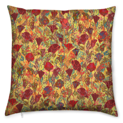 Poppy Pattern (Red/Gold) Cushion