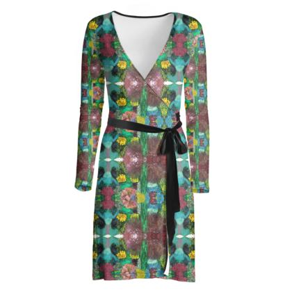 Garden print wrap dress