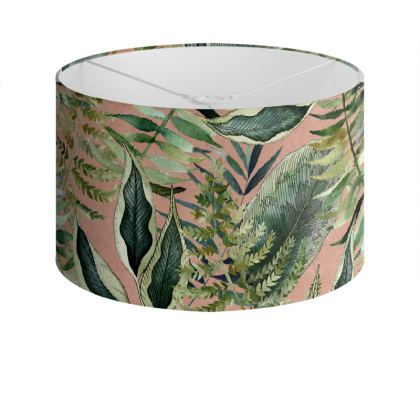 Pink Tropical Leaves Drum Lamp Shade