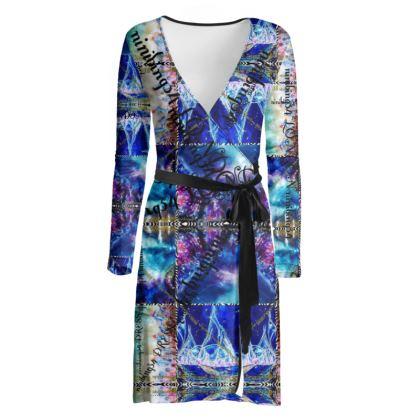 219,50 € Wickelkleid! ninibing34 interpretiert MIAMI MEDUSA BLUE auf ein zauberhaftes Wickelkleid! size XL
