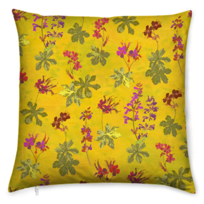 Summer Geranium Pattern Cushion