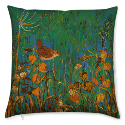Wren and Physalis Cushion