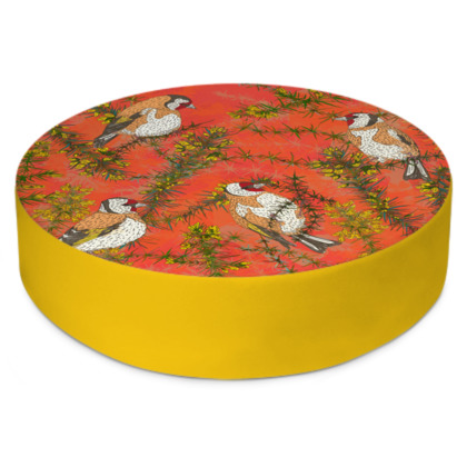 Goldfinches in Gorse Round Floor Cushions