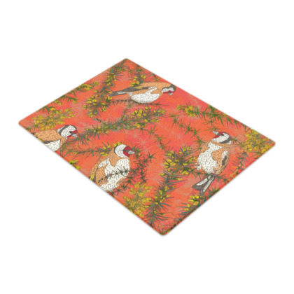 Goldfinches in Gorse Glass Chopping Board