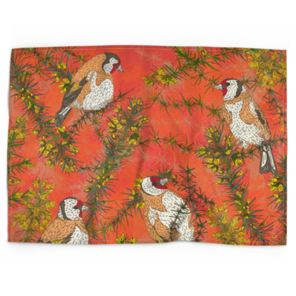 Goldfinches in Gorse Tea Towel