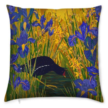 Iris and Moorhen Cushion