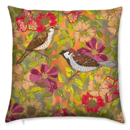 Sweet Sparrows and Briar Rose Cushion
