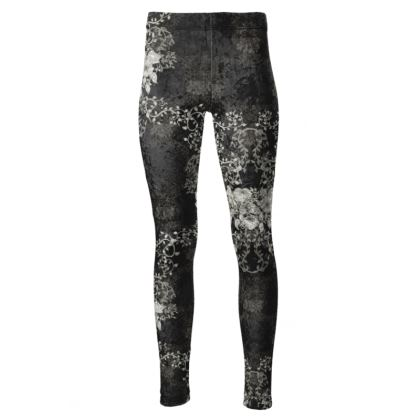 High Waisted Sport Leggings- Luxurious With Flowers (Black)