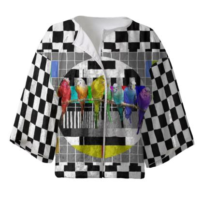 Test Card and Rainbow Budgies Kimono Jacket