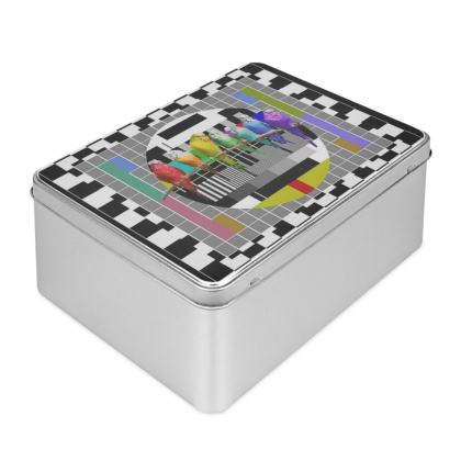 Test Card and Rainbow Budgies Biscuit Tin