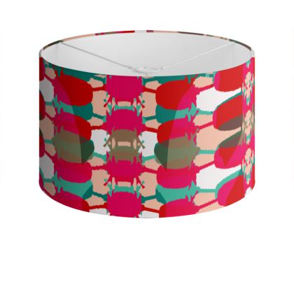 Red Teasel Geo Drum Lamp Shade