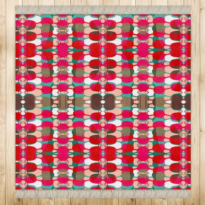Red Teasel Geo square Rug