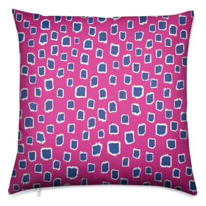 Artful Exotica Living Playful Pink Blue Luxury Cushion