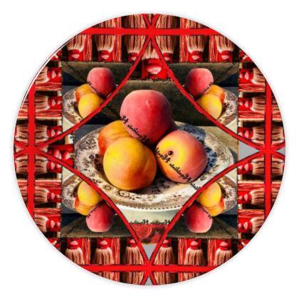 69,- DESIGNER Keramik Teller PEACH, china plate im bezaubernden ninibing34 DESIGN