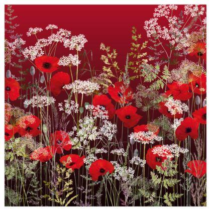 "Poppy Field at Sunset Art Print. Size 24"" x 24"""