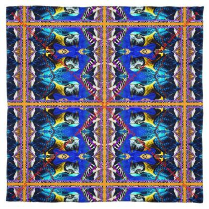 SEIDENTUCH, Silk Scarf #ninibing34 DESIGN 115 x 115 cm 100% SEIDE Parrot Blue small