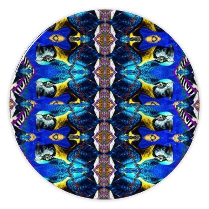 69,- DESIGNER Keramik Teller PARROT BLUE , china plate im bezaubernden ninibing34 DESIGN Teller, China plate 20 cm