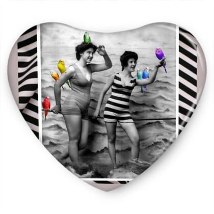 Retro Bathers with Rainbow Budgies Sweet Heart Tin
