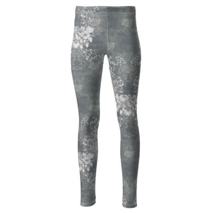 High Waisted Sport Leggings - Luxurious With Flowers (Grey)
