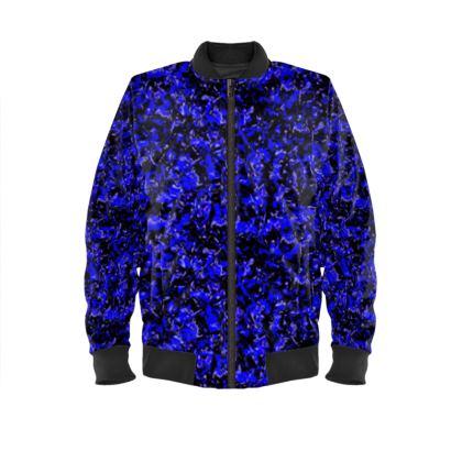 Bright blue with black background ladies Bomber Jacket