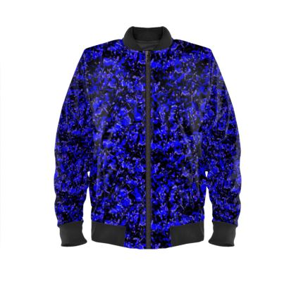 Bright blue with black background mens Bomber Jacket