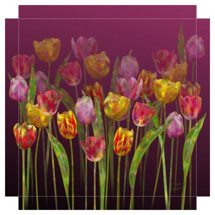Tulip Field Canvas Print. Size 40cm x 40cm