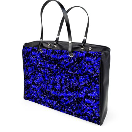 Bright blue with black background Leather handbag