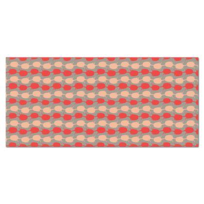 Raspberry Teasel Geo Oilcloth Tablecloth
