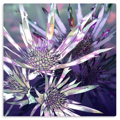 "Purple Prickles Metal Print. Size 12"" x 12"""