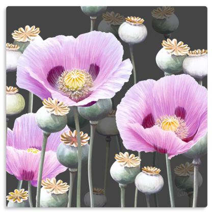 "Dusky Poppies Metal Print. Size 12"" x 12"""