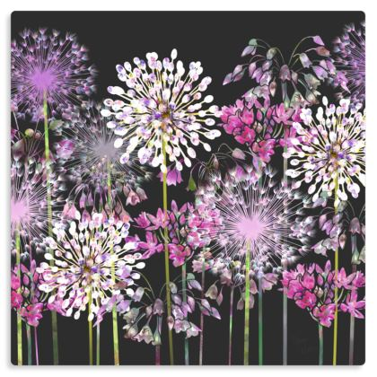 "Allium Meadow Metal Print. Size 12"" x 12"""