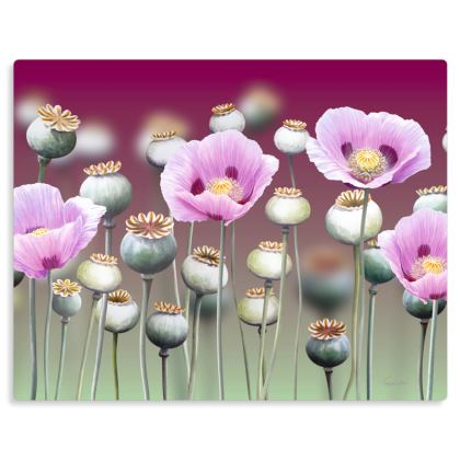"Purple Poppies Metal Print. Size 14"" x 11"""