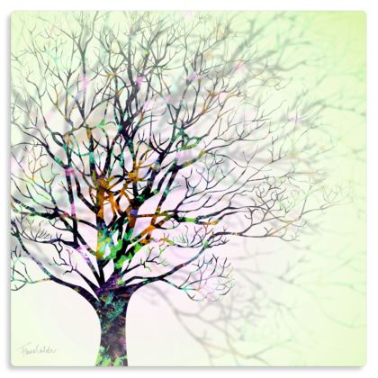 "Wintry Tree Metal Print. Size 12"" x 12"""