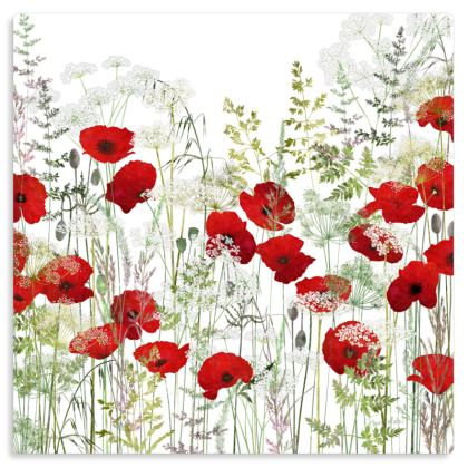 "Poppy Field Metal Print. Size 12"" x 12"""
