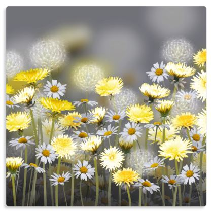 "Dandelion and Daisy Meadow Metal Print. Size 12"" x 12"""