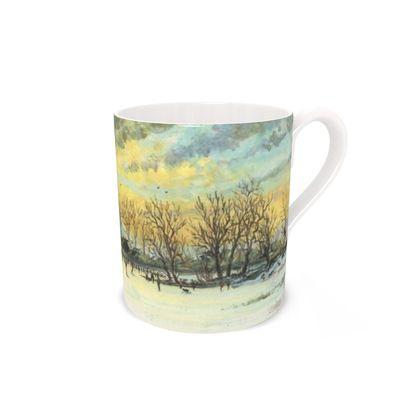 """""""Herringbone Sky"""" bone china mug"""