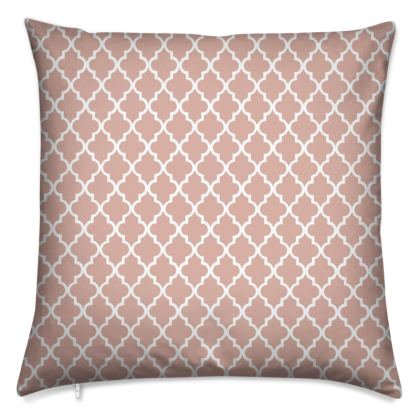 pink and white moroccan pattern cushion