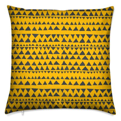 Mustard Yellow mud cloth with triangles