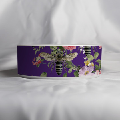 Purple Flora and Bee Pet Bowl