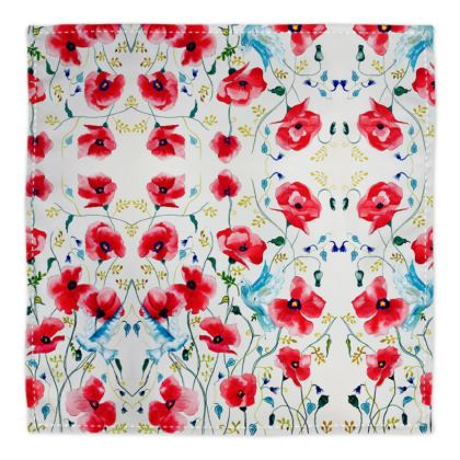 Poppies and Two doves Bandana