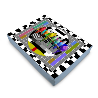 Test Card and Rainbow Budgies Pet Bed