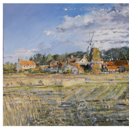 """""""Cley Mill"""" coasters, pack of 4, each with same image"""