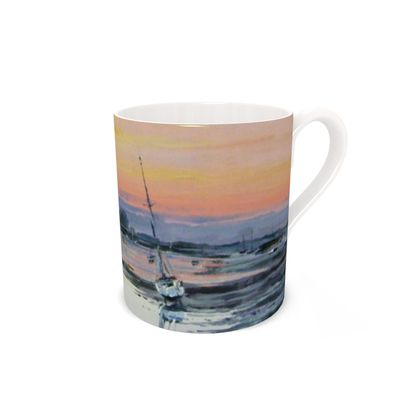 """Burnham Overy Staithe Sunset"" bone china mug"