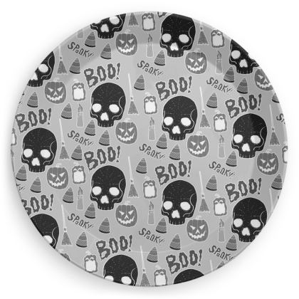 Party Plates - Halloween pattern (Grey)