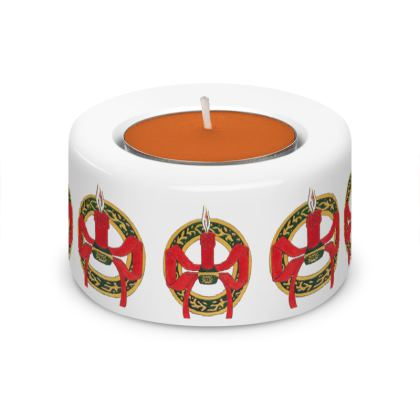 Artemisia Tea Light Holder Pair with Festive Candle design