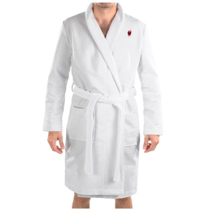 Basic white housecoat robe in most sizes. Men's  XS -= 4XL.   Copyright 2018 Joanne Shaw.