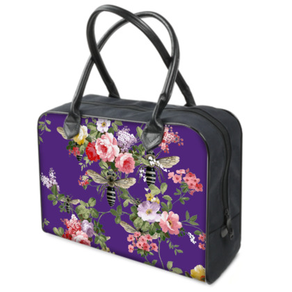 Purple Flora and Bee Weekender Bag