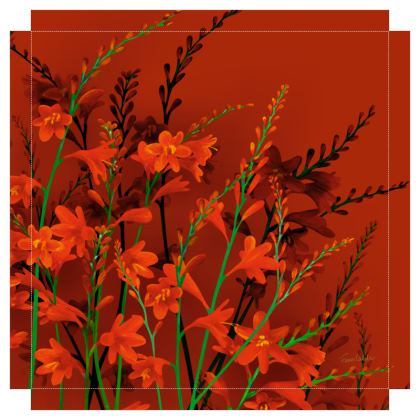 Red Montbretia Canvas Print. Size 50cm x 50cm