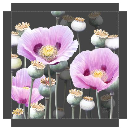 Dusky Poppies Canvas Print. Size 40cm x 40cm