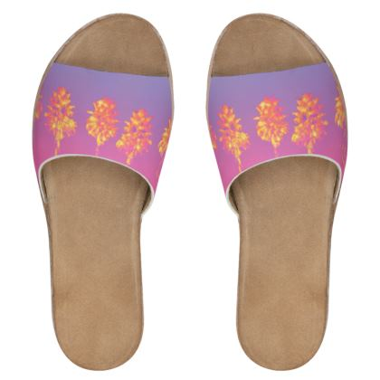 Palm Trees Collection Womens Leather Sliders
